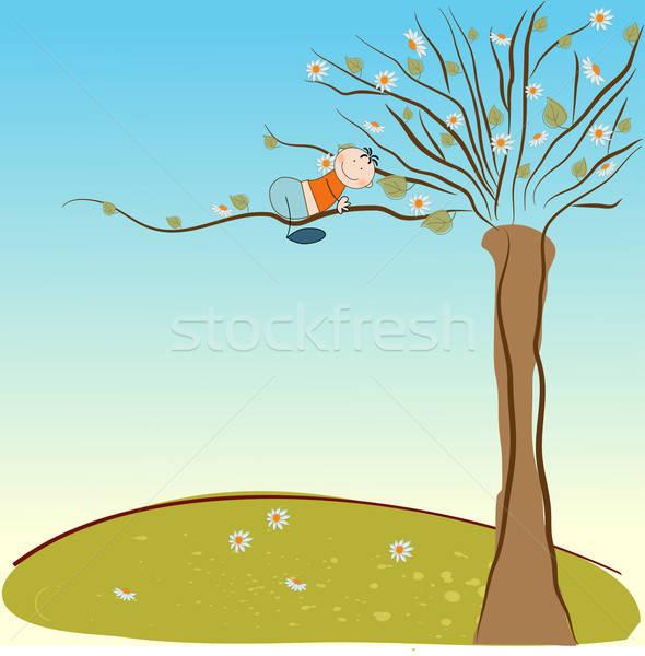 Primavera textura árbol fondo arte verde Foto stock © balasoiu