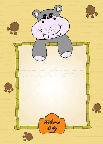 Stock photo: cute baby shower card with hippo