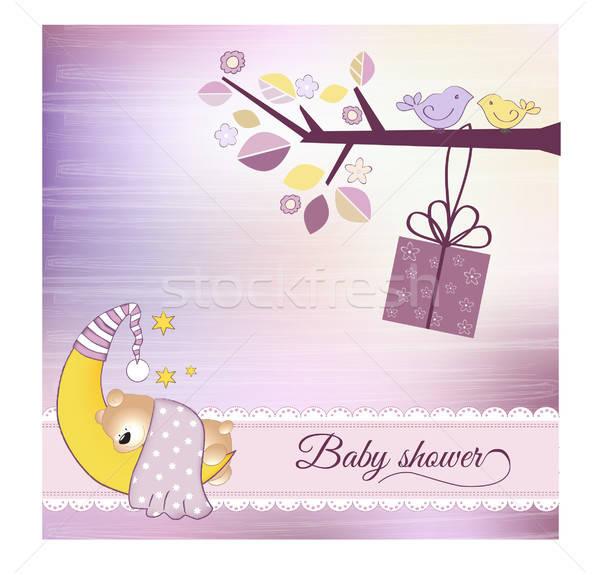 Baba zuhany közlemény hold művészet csillagok Stock fotó © balasoiu