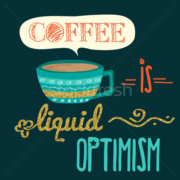 Retro background with coffee quote and golden glittering details Stock photo © balasoiu