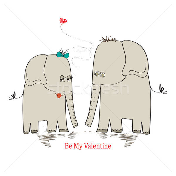 Two enamored elephants, greeting card of Valentine's Day and we Stock photo © balasoiu