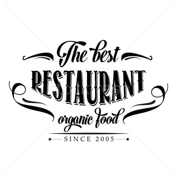 Retro alimentos orgánicos restaurante anunciante ilustración vector Foto stock © balasoiu