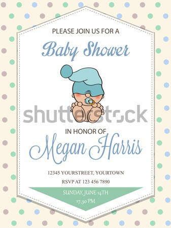 Beautiful baby boy shower card with little baby under umbrella Stock photo © balasoiu