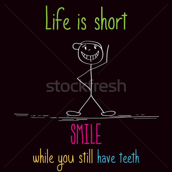 Drôle illustration un message vie court sourire Photo stock © balasoiu