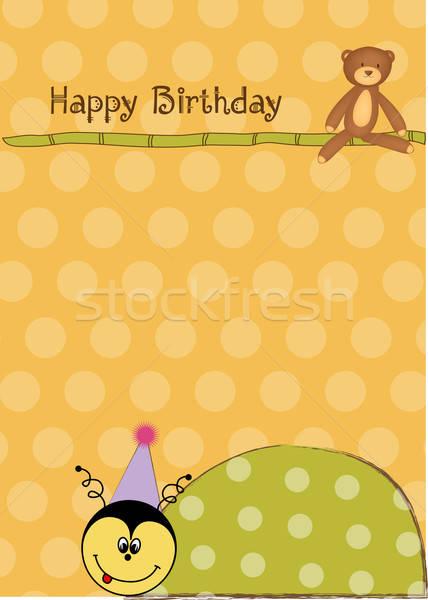 Boldog születésnapot kártya katicabogár lány szeretet absztrakt Stock fotó © balasoiu
