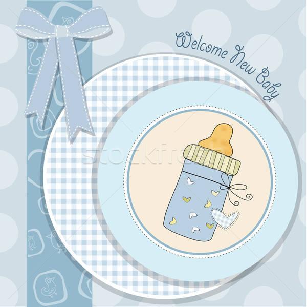 baby shower card with bottle milk Stock photo © balasoiu