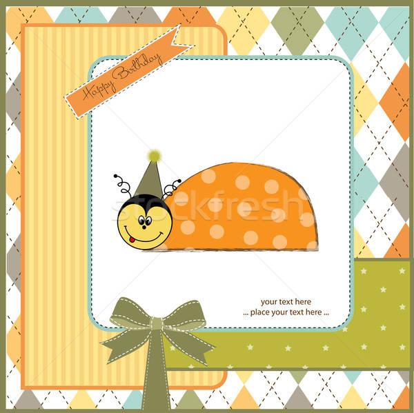 Feliz aniversário cartão joaninha menina amor abstrato Foto stock © balasoiu