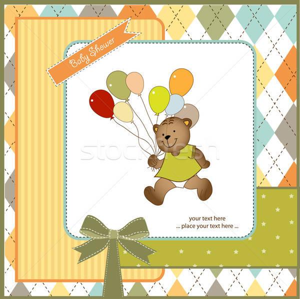 Bebek duş kart oyuncak ayı oyuncak parti Stok fotoğraf © balasoiu
