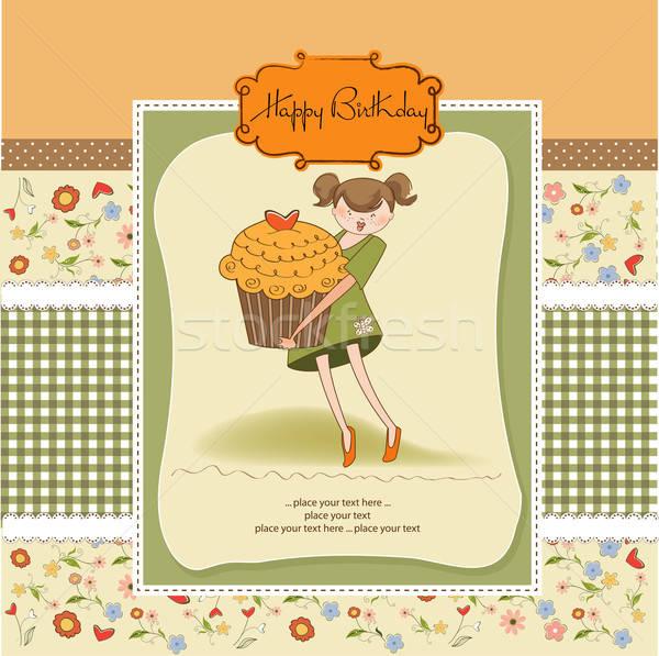Happy Birthday card with girl and cup cake Stock photo © balasoiu
