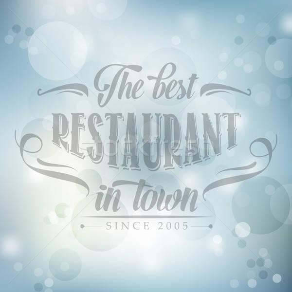 Retro restaurante cartaz azul turva vetor Foto stock © balasoiu