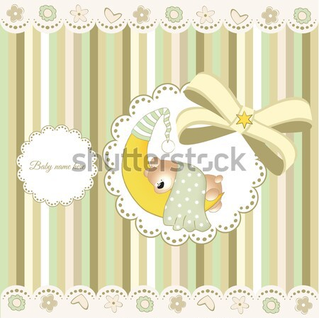 baby shower card with little baby boy sleep with his teddy bear toy Stock photo © balasoiu