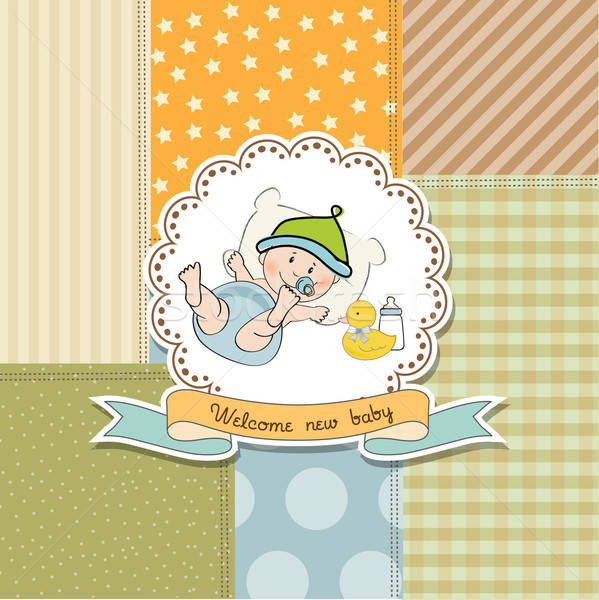 new baby announcement card with little baby Stock photo © balasoiu