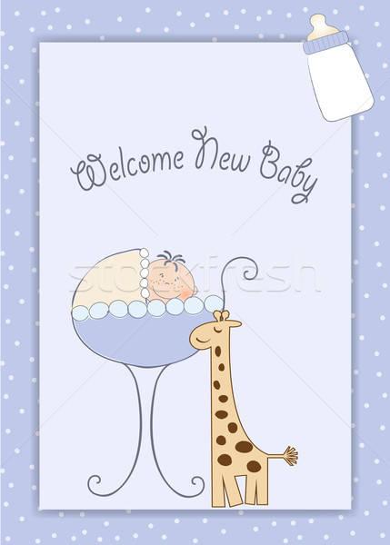 Baby boy shower aouncement Stock photo © balasoiu