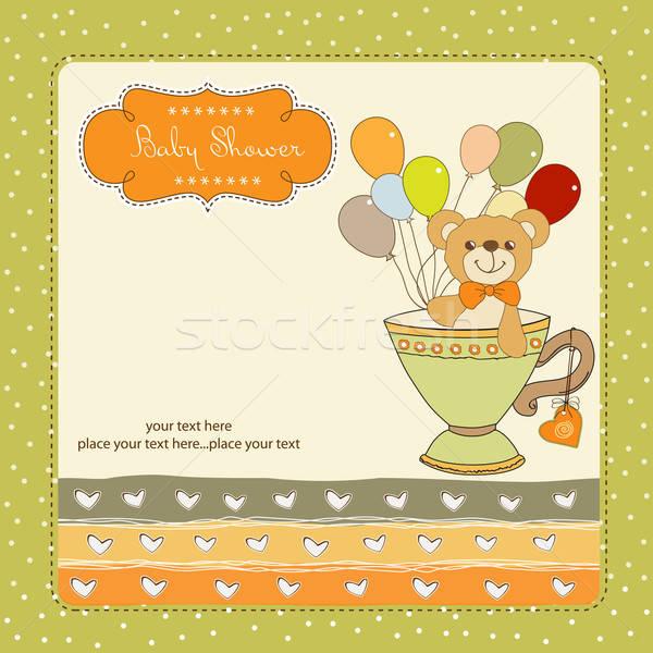 赤ちゃん シャワー カード かわいい テディベア 抽象的な ストックフォト © balasoiu