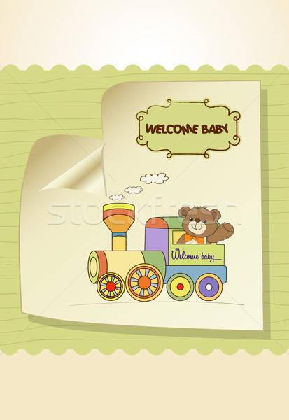 Baba zuhany kártya plüssmaci vonat játék Stock fotó © balasoiu