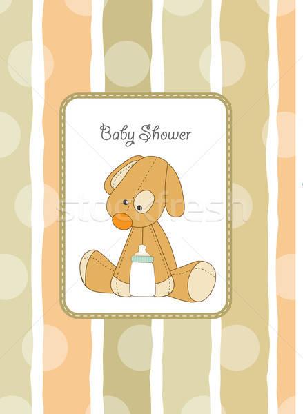 Bebek duş kart köpek yavrusu parti doğum günü Stok fotoğraf © balasoiu