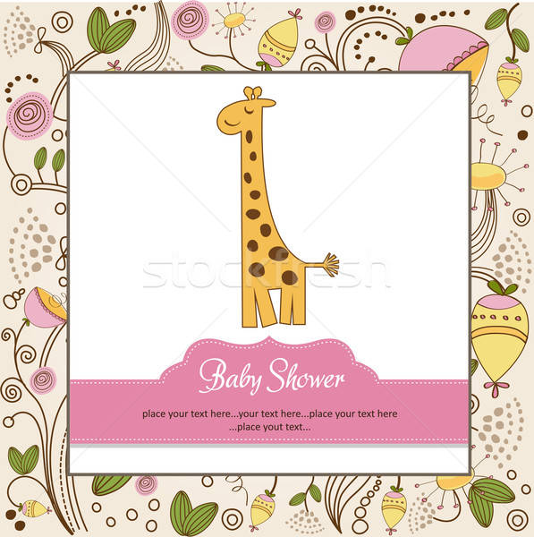 Yeni bebek duyuru kart zürafa doğum günü Stok fotoğraf © balasoiu