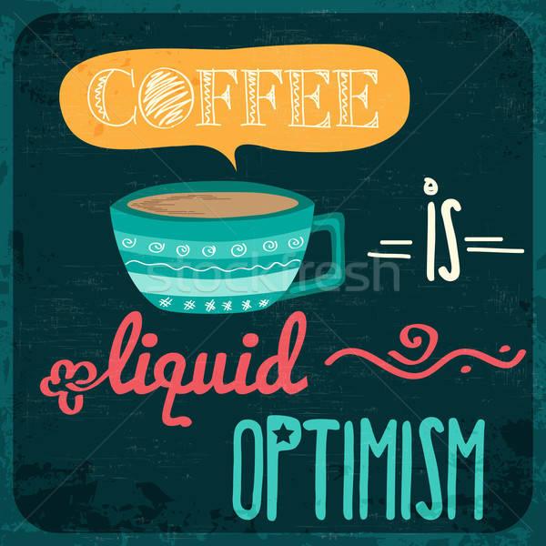 Retro koffie citaat vector formaat textuur Stockfoto © balasoiu