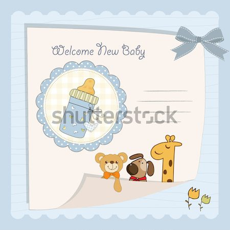 Stock photo: romantic baby announcement card