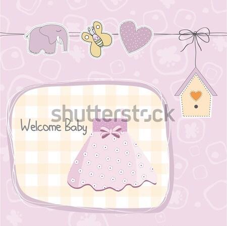 Yeni bebek erkek duyuru kart doğum günü Stok fotoğraf © balasoiu