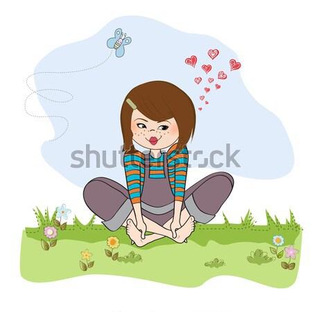Fiatal csinos lány íj valentin nap kártya Stock fotó © balasoiu