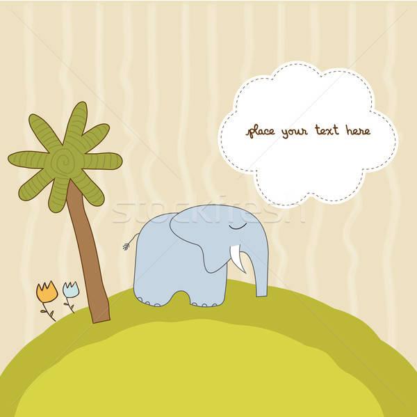 Een weinig olifant ontwerp afrika print Stockfoto © balasoiu