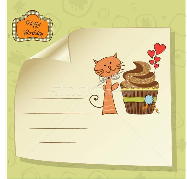 birthday greeting card with cupcake and cat Stock photo © balasoiu