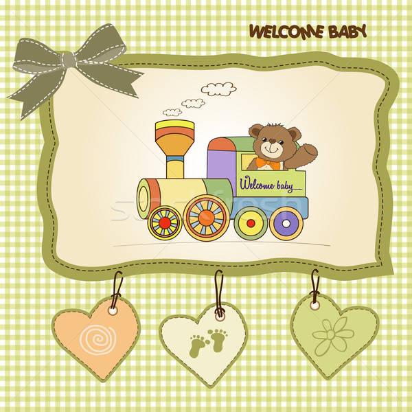 Baby douche kaart teddybeer trein speelgoed Stockfoto © balasoiu