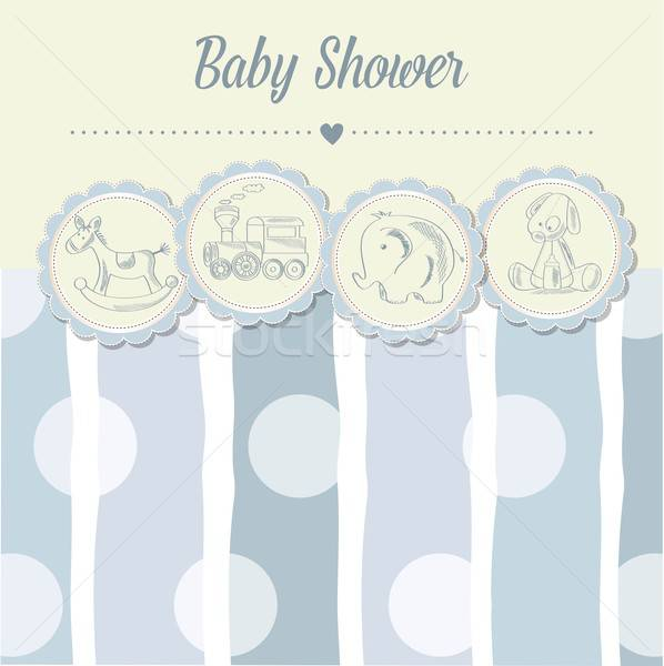 Stock photo: baby boy shower card with retro toys