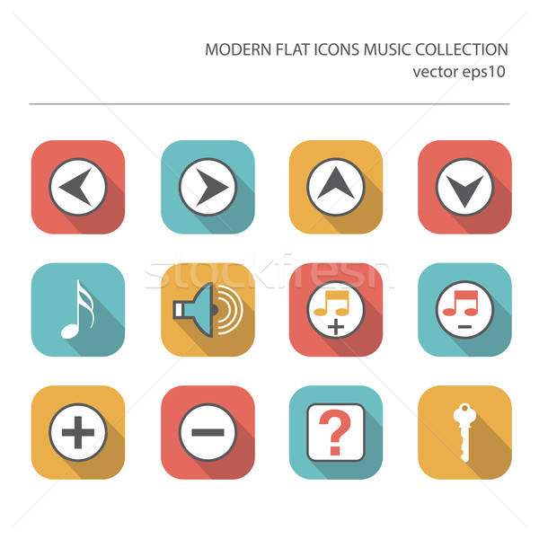Modern flat icons vector collection with long shadow effect in s Stock photo © balasoiu