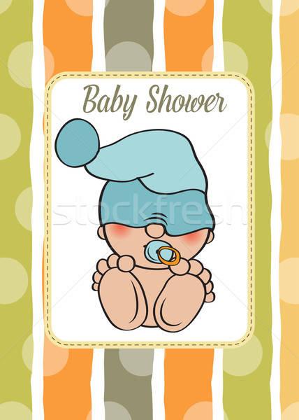 Baby jongen douche kaart grappig weinig Stockfoto © balasoiu