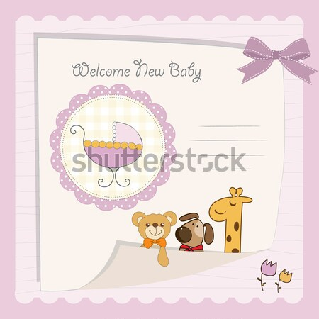 Stock photo: baby girl welcome card with teddy bear