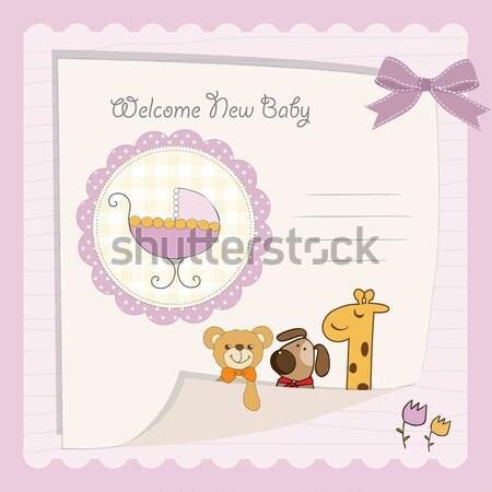 Benvenuto carta orsacchiotto party felice Foto d'archivio © balasoiu