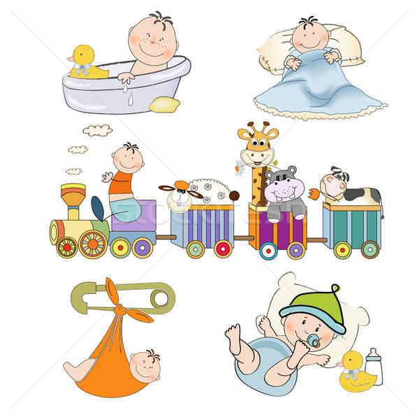 new baby boy items set isolated on white background Stock photo © balasoiu