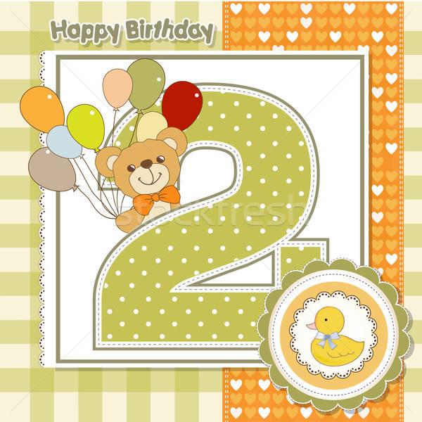 2番目の 周年記念 カード 赤ちゃん 歳の誕生日 ウェブ ストックフォト © balasoiu