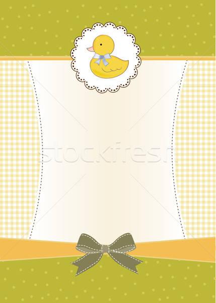Bebek duş kart küçük ördek kız Stok fotoğraf © balasoiu