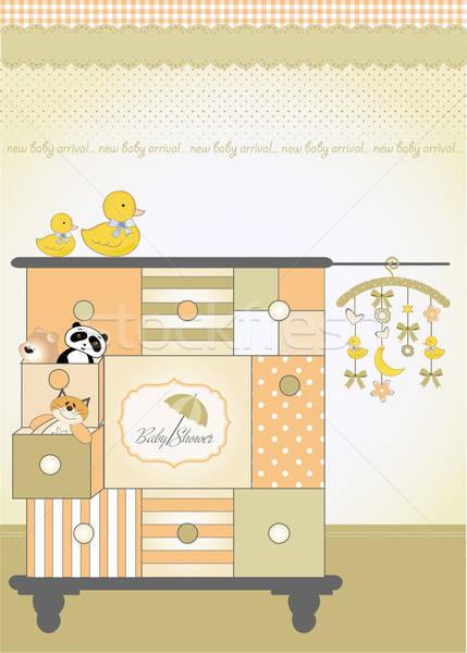 new baby greeting card with nice closed Stock photo © balasoiu