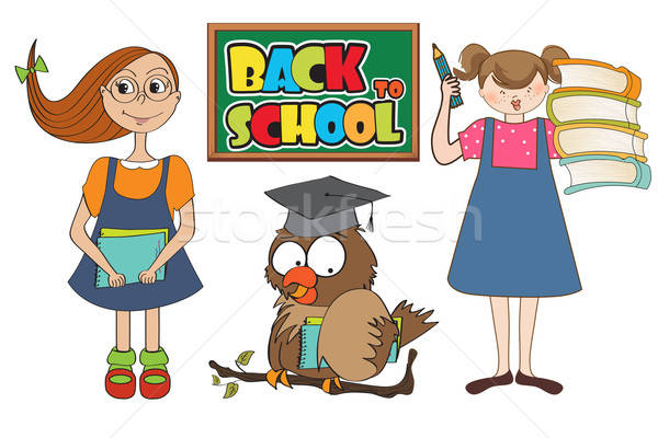 set of two happy young girls at school isolated on white backgro Stock photo © balasoiu