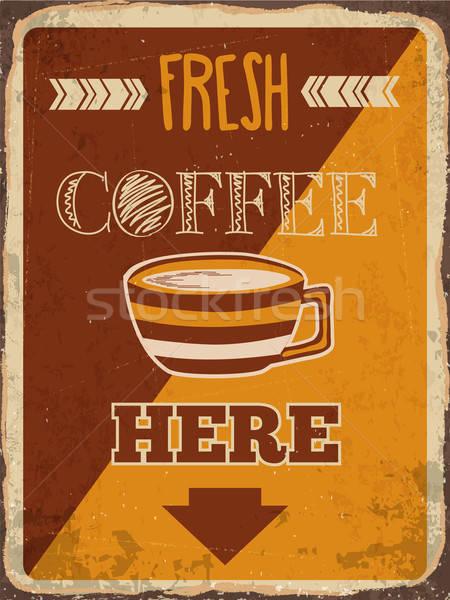 Stockfoto: Retro · metaal · teken · vers · koffie · hier