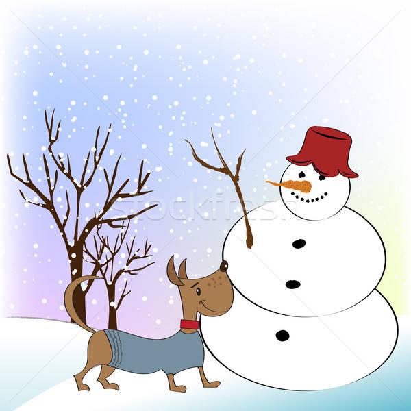 ストックフォト: クリスマス · グリーティングカード · 面白い · 雪だるま · 幸せ · 犬