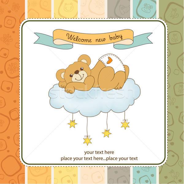 Baby doccia carta assonnato orsacchiotto felice Foto d'archivio © balasoiu
