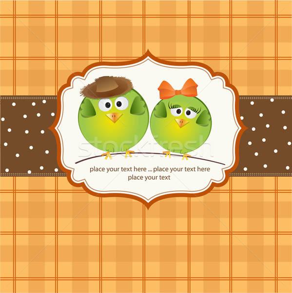 Kuşlar çift sevmek mutlu dizayn öpücük Stok fotoğraf © balasoiu
