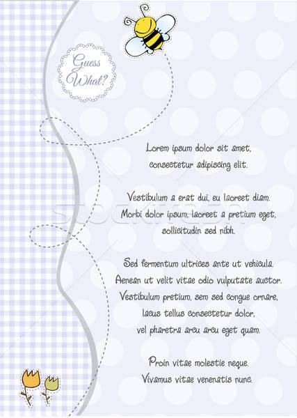 Bebek erkek duş duyuru kart vektör Stok fotoğraf © balasoiu