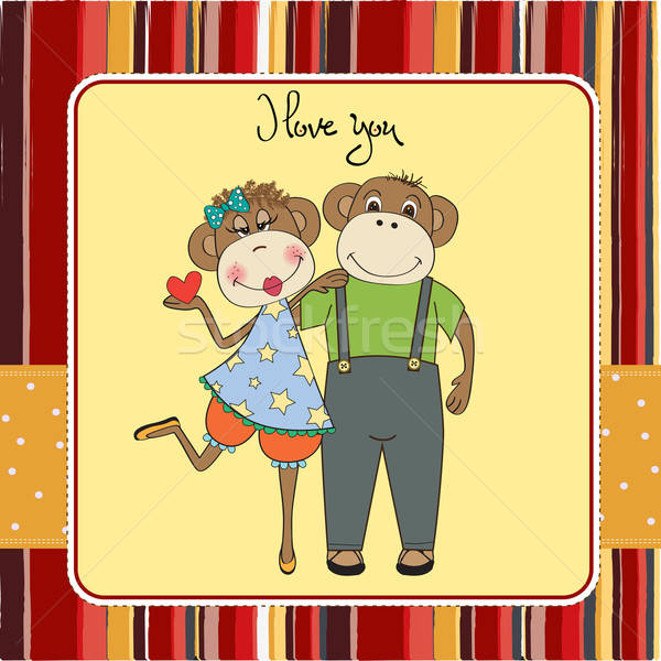 Обезьяны пару любви карт обезьяны Сток-фото © balasoiu