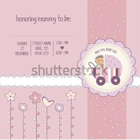 cute baby shower card Stock photo © balasoiu