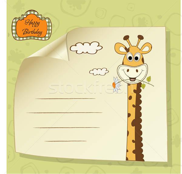 birthday greeting card with giraffe Stock photo © balasoiu