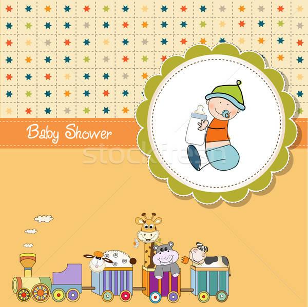面白い 漫画 赤ちゃん シャワー カード ベクトル ストックフォト © balasoiu