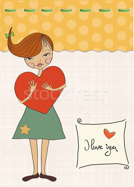 romantic young girl with big heart Stock photo © balasoiu