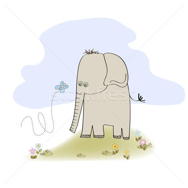 Küçük sevimli fil örnek vektör format Stok fotoğraf © balasoiu