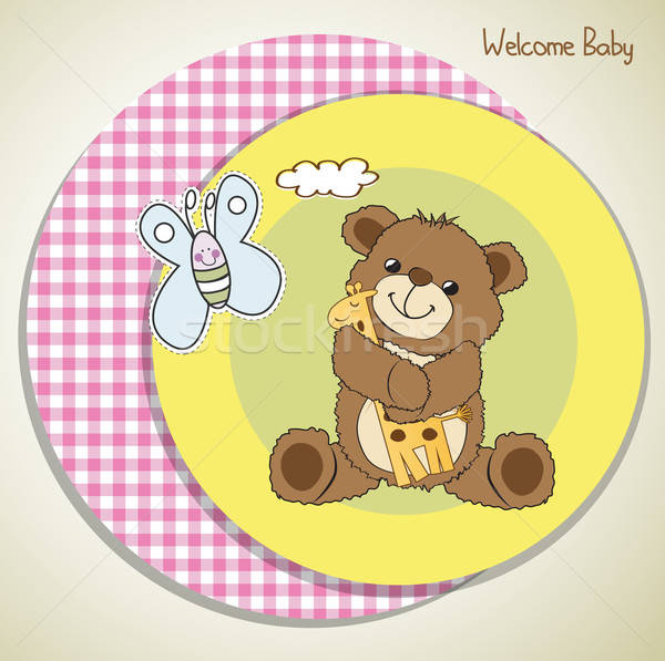 Baba zuhany kártya plüssmaci játék buli Stock fotó © balasoiu